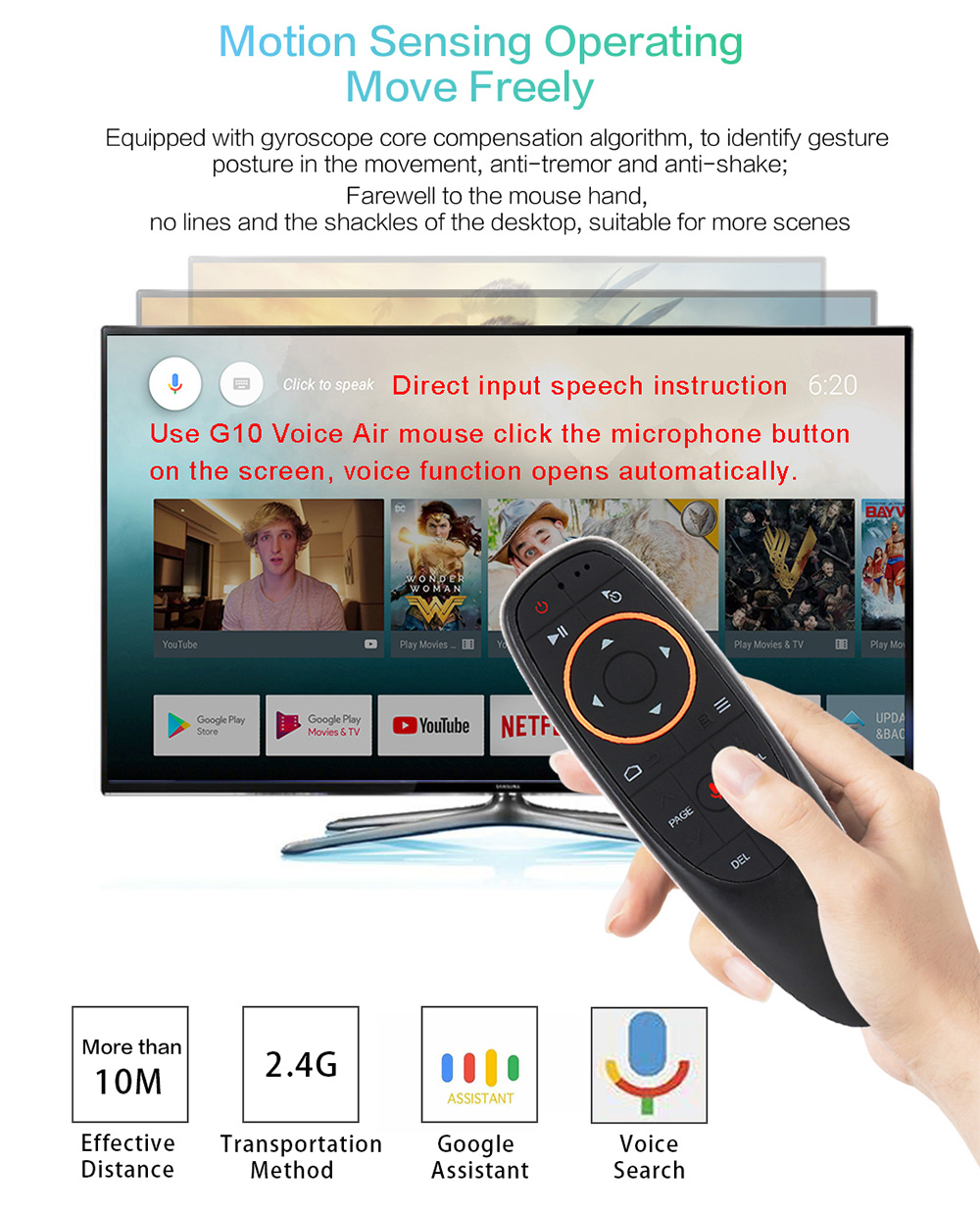 Kebidu G10 Wireless Fly Air Mouse 2.4GHz For Android Tv Box