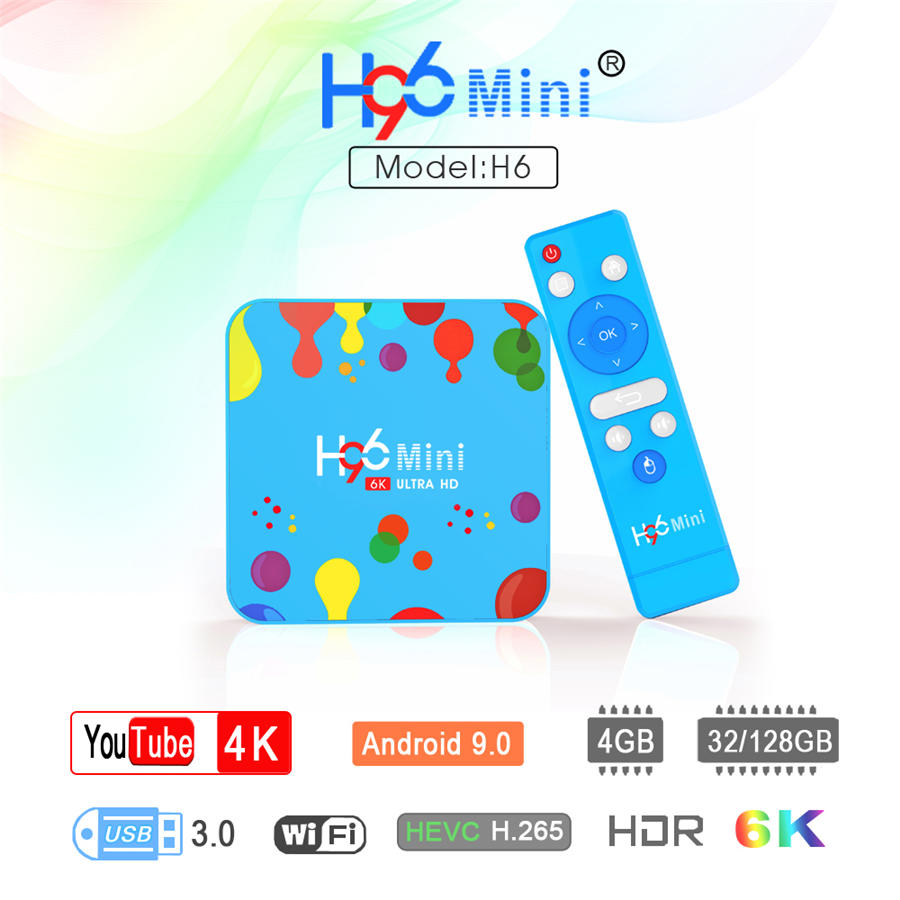 OS Android 9.0 H96 mini H6 tv box 128GB of ROM