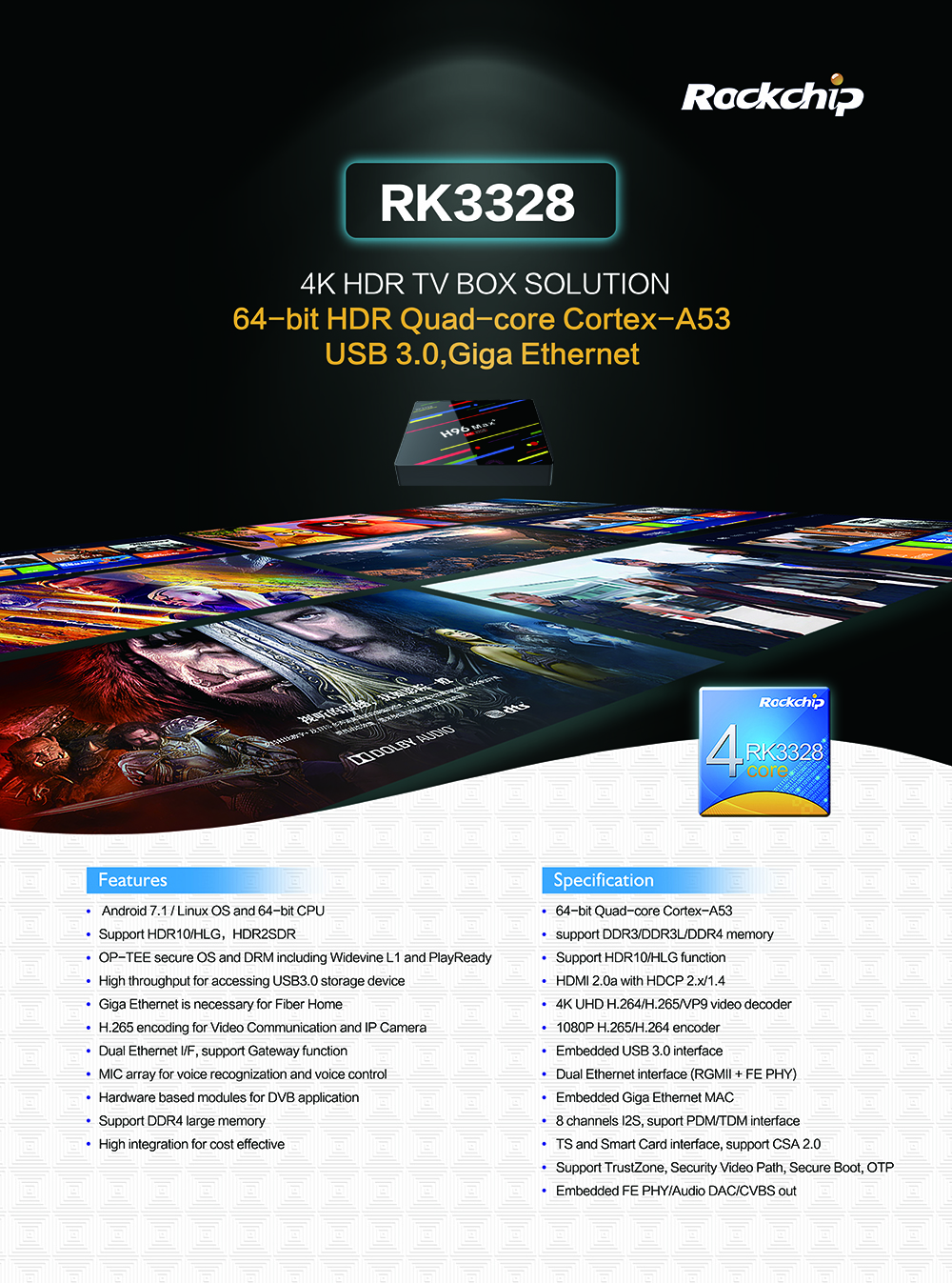 H96 MAX PLUS NEWST ANDROID8.1 ultra hd tv box