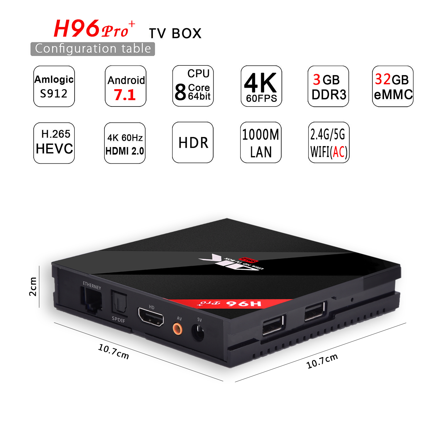 H96 Pro+ Android TV Box - S912 Octa Core CPU