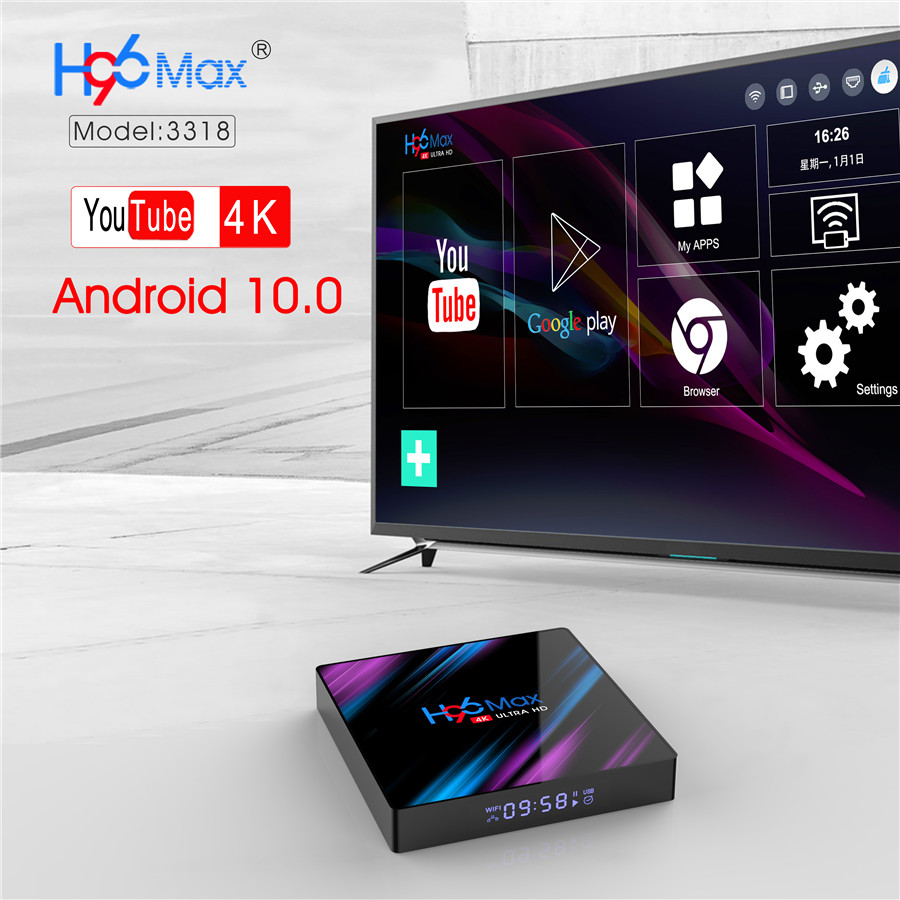 brand new android 10 tv box with H96 max rk3318