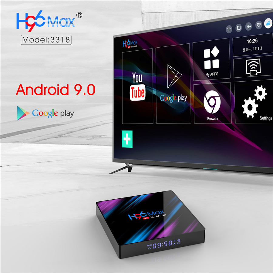 2019 Rockchip rk3318 h96 max DDR3 4GB android 9.0 tv box