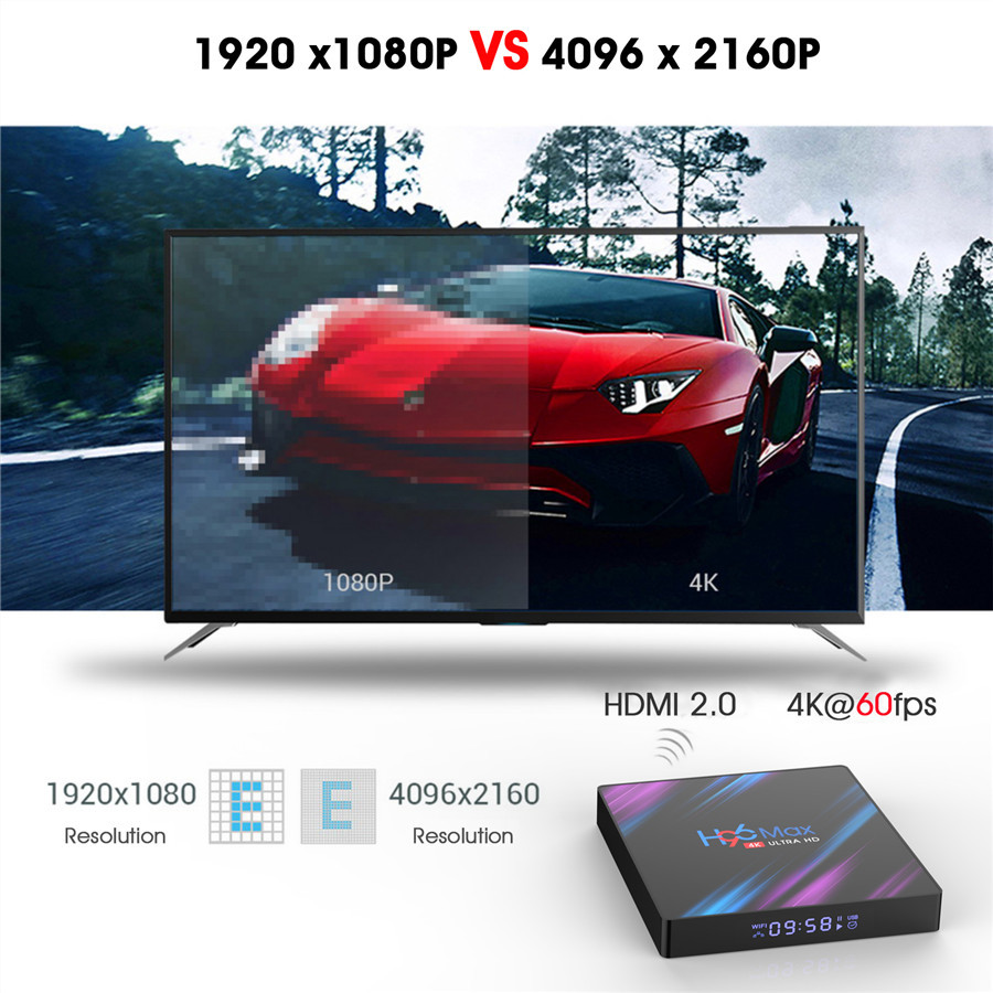 h96 max HD 4K android 9.0 tv box with time display