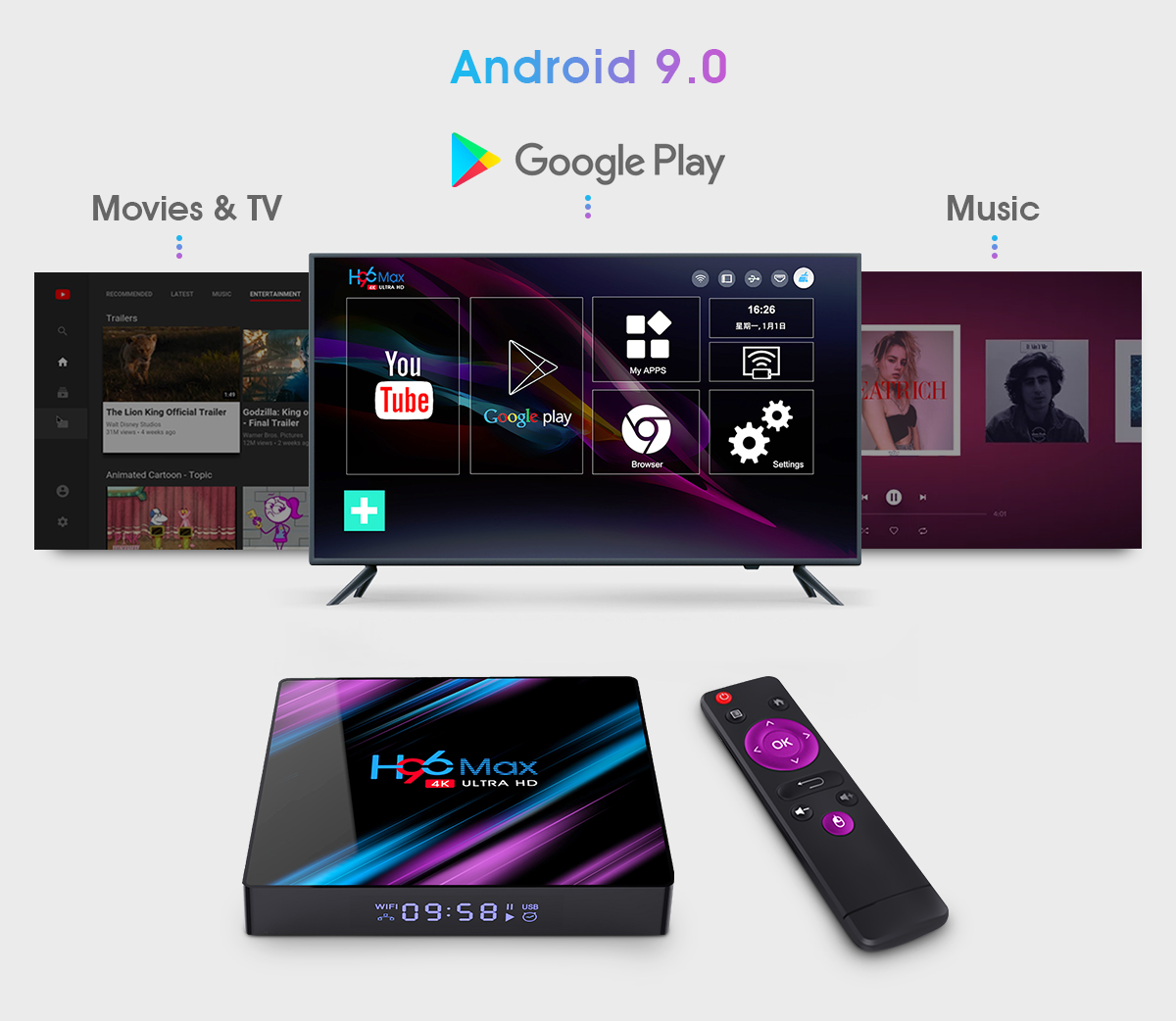 android 9.0 internet tv box h96max rk3318