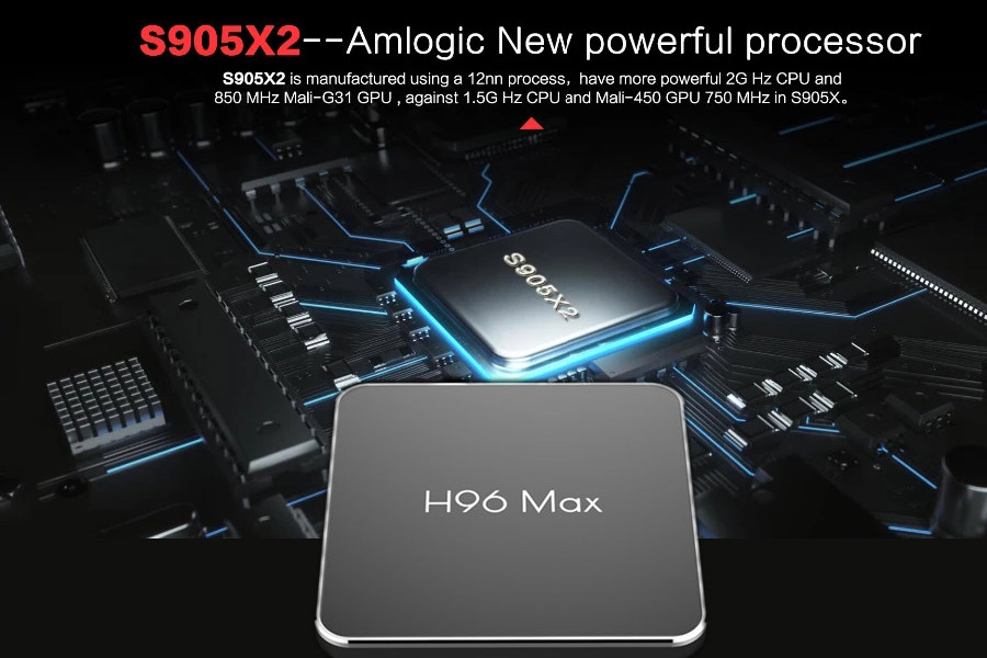 S905x2 android 9.0 tv box h96 max x2